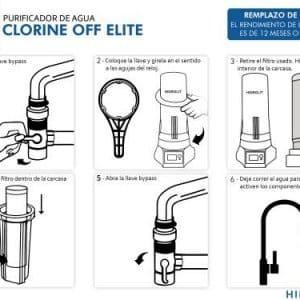 Purificador de agua Filtro elimina Cloro Clorine off hidrolit